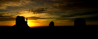 Monument Valley Sunrise Silhouette, Pano